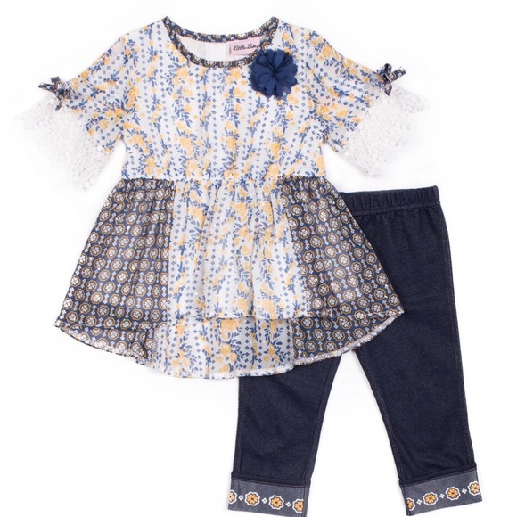 Little Lass Floral Lace Top & Capri Leggings Set